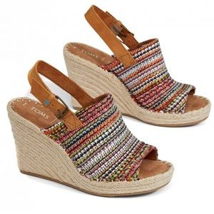 TOMS Monica Wedge in Cherry Tomato Global Woven
